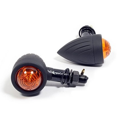 Bullet Turn Signals Black Grooved