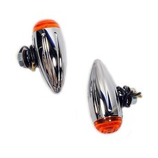 Bullet Turn Signals Mini Chrome Grooved S