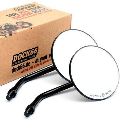 1 Pair Custom Mirror round 4/10cm black with E-mark, for Japanese Motorcycles
