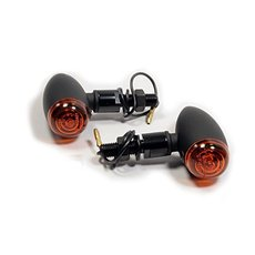 Bullet Mini Turn Signals Black Smooth Long Stem