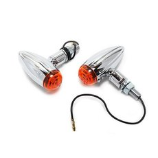Bullet Turn Signals Chrome Mini Grooved L
