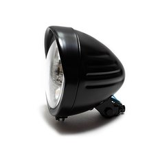 5¾ Headlight Grooved Plainglass with Visor in black