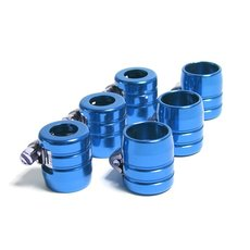 6 blue anodized aluminum hose clamps